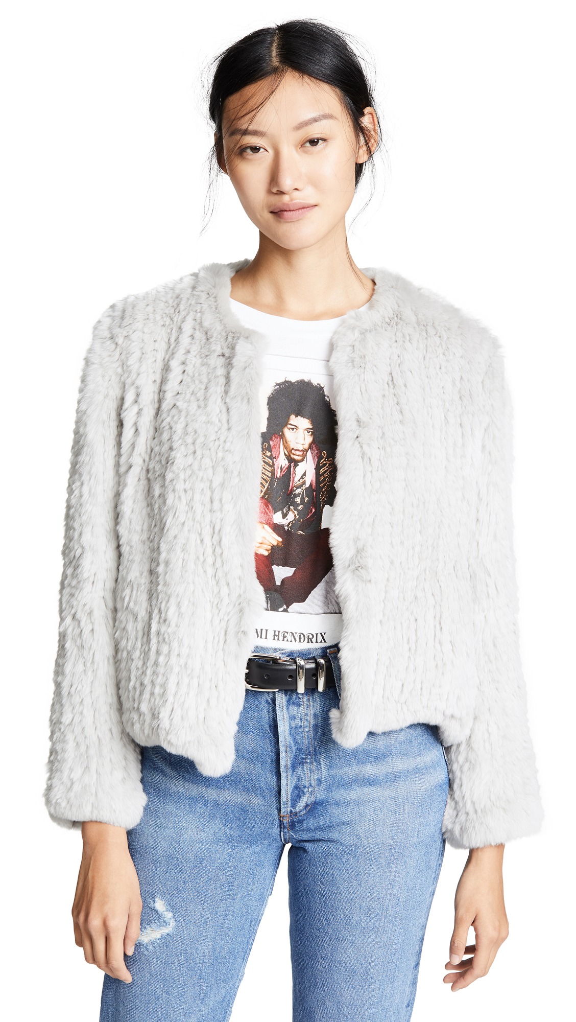 H Brand Ella Rabbit Fur Jacket