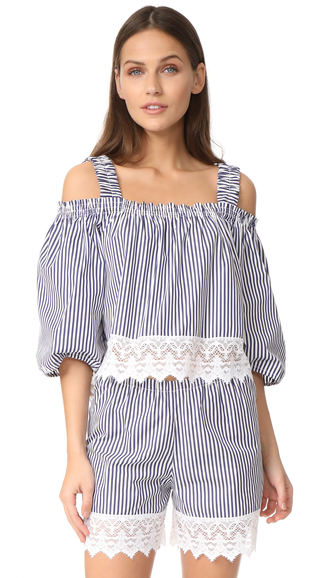 Holy Caftan Aliz Corto Cover Up Blouse - Downing/Blue