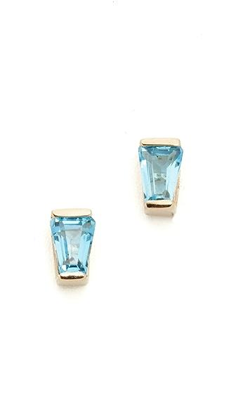 Holly Dyment 18k Gold Blue Topaz Baguette Stud Earrings