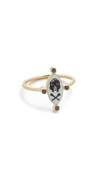 Holly Dyment 18k Gold Little Skull White Enamel Ring