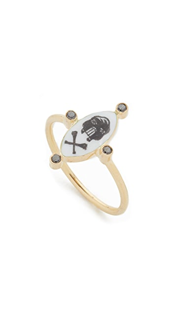 Holly Dyment 18k Gold Little Skull White Enamel Ring