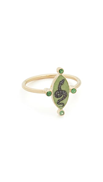 Holly Dyment Little White Enamel Snake Ring