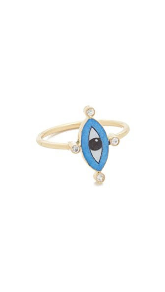 Holly Dyment Little Blue Enamel Eye Ring
