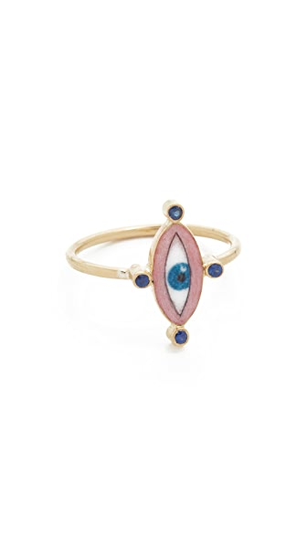 Holly Dyment 18k Gold Little Blue Enamel Eye Ring