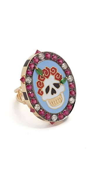 Diamonds & 18K Yellow Gold Gemstone Skull Ring in Multi