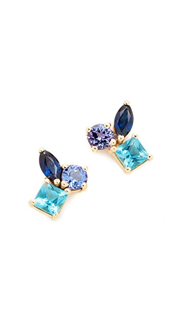 Holly Dyment 18k Gold Cluster Earrings with Tanzanite, Blue Topaz & Sapphire