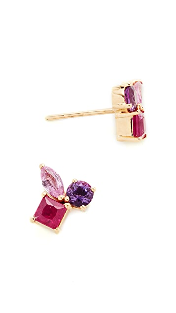 Holly Dyment 18k Gold Cluster Earrings with Pink Sapphire