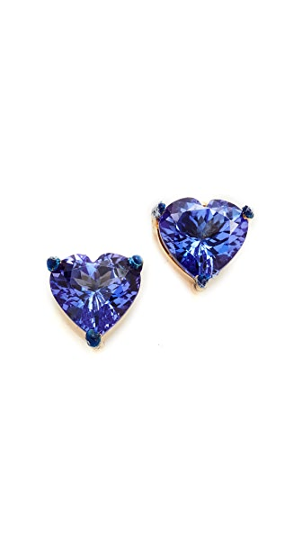 Holly Dyment Tanzanite Heart Shaped Stud Earrings - Gold