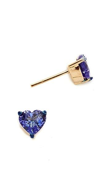 Holly Dyment Tanzanite Heart Shaped Stud Earrings