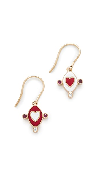 Holly Dyment 18k Gold Go Lightly Heart Earrings - Multi
