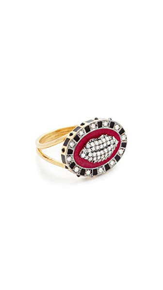 Holly Dyment Glam Lip Enamel Ring In Gold