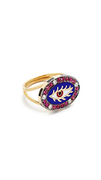 Holly Dyment 18k Gold Americana Blue Eye Ring