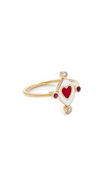 Holly Dyment Go Lightly Heart Ring with Rubies - Multi