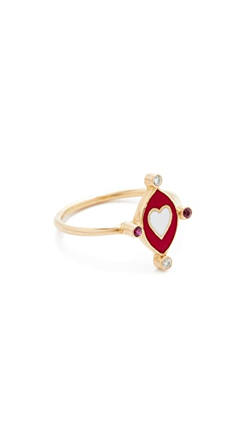 Holly Dyment 18k Gold Go Lightly Heart Ring with Rubies