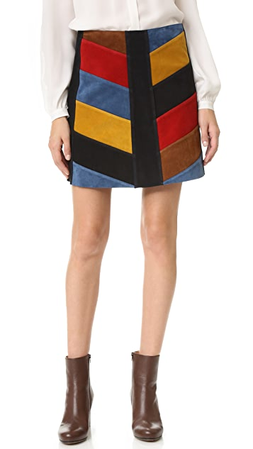 M.i.h Jeans Chevron Suede Skirt