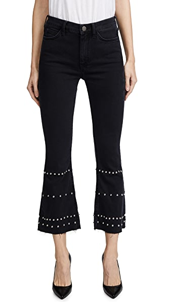 Marty Cropped Studded High-Rise Flared Jeans in Black