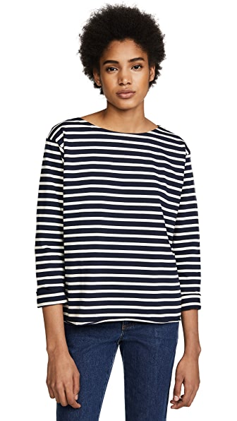 M.i.h Jeans Simple Mariniere Top In Navy/Cream