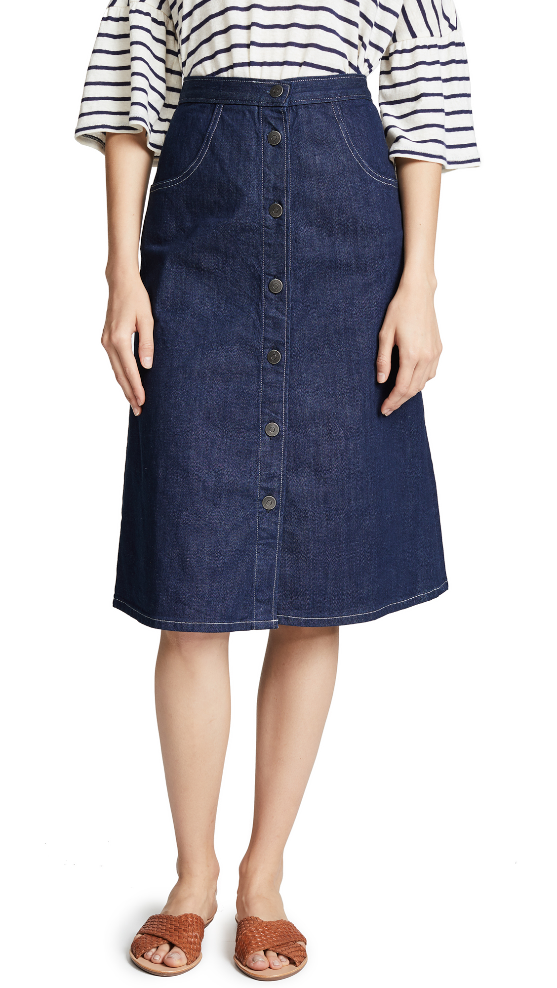 M.i.h Jeans Calicot Denim Skirt In Eco Rinse