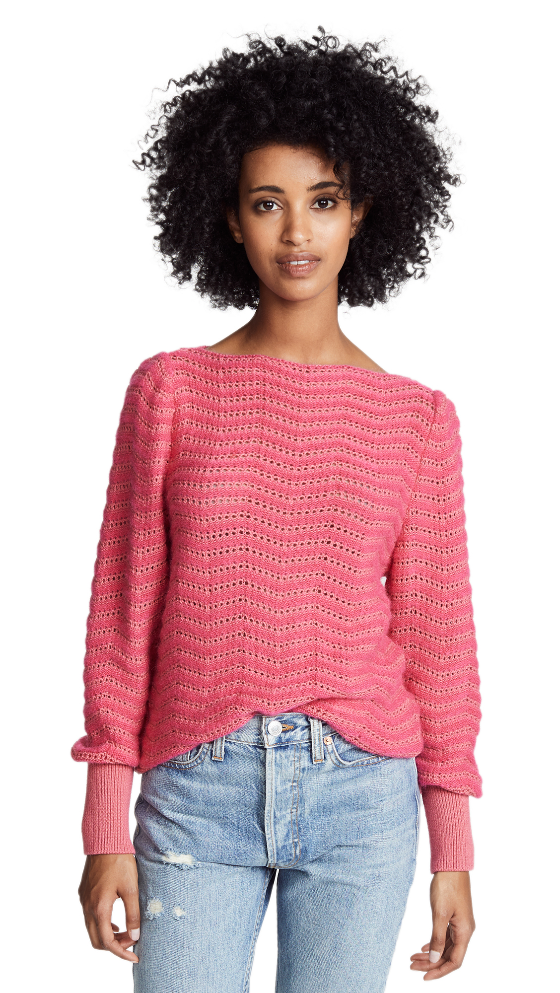 Celia Pointelle-Knit Mohair-Blend Sweater, Skittle Pink