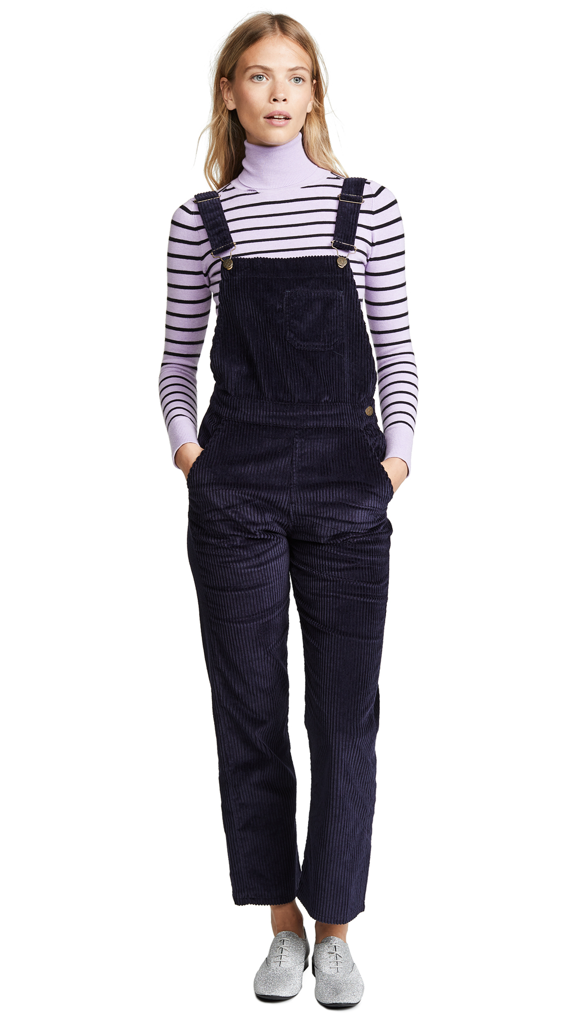 M.I.H JEANS Korine Cotton-Blend Corduroy Overalls in Navy