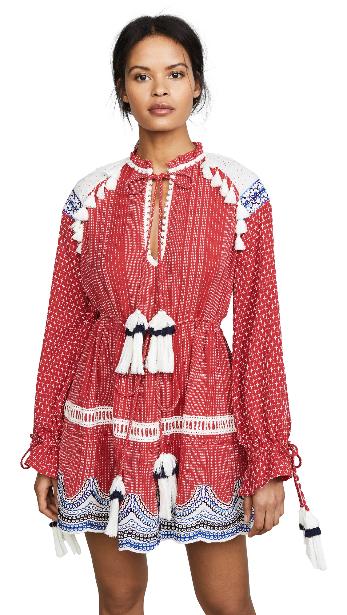 Hemant and Nandita Long Sleeve Dress In Red