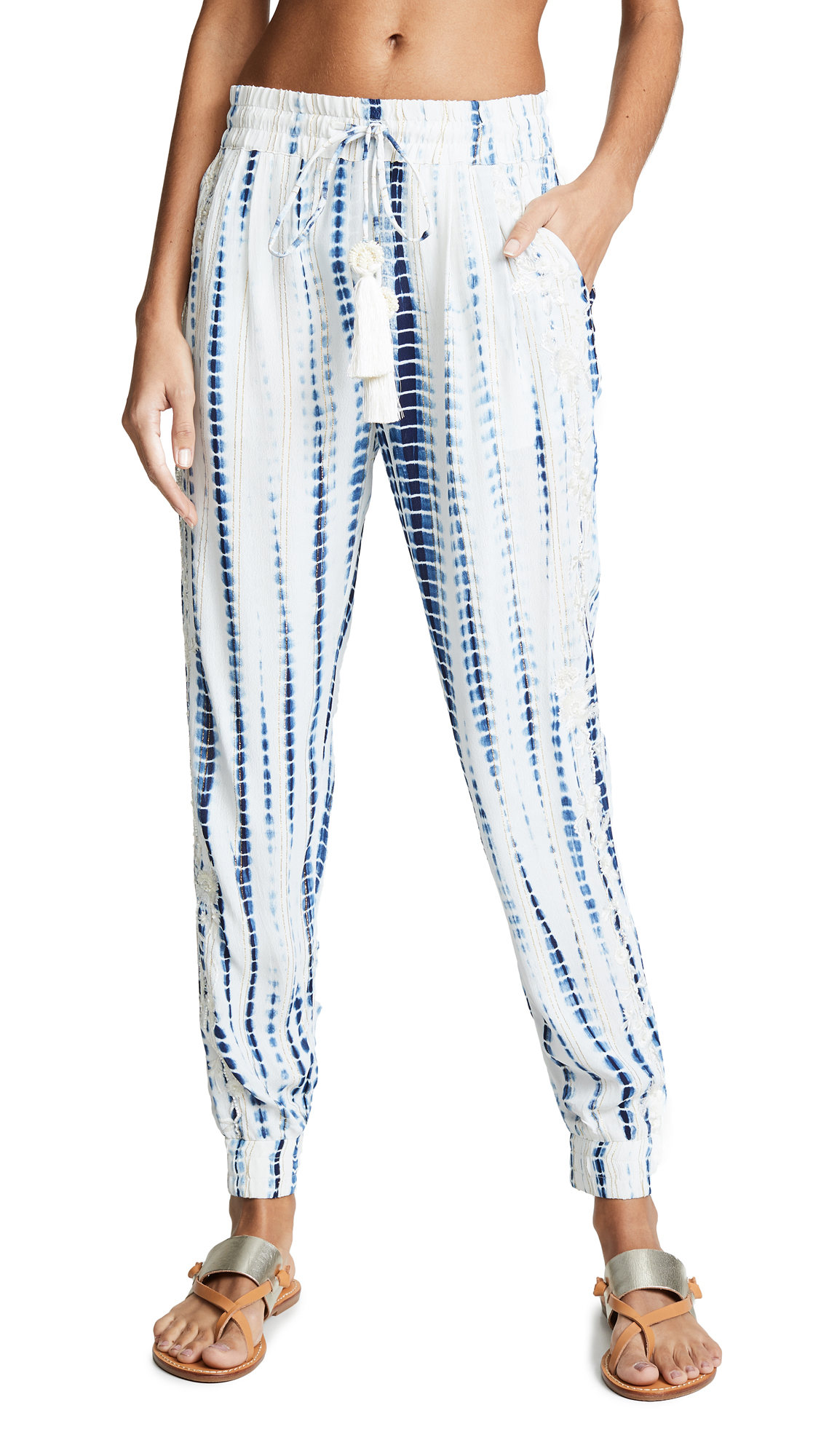 HEMANT & NANDITA Maera Pants in White/Blue