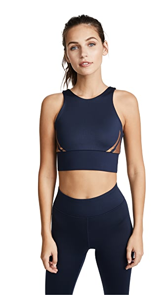"HEROINE SPORT Flex 3"" Waistband Full-Length Performance Leggings in Navy & Rose Gold"