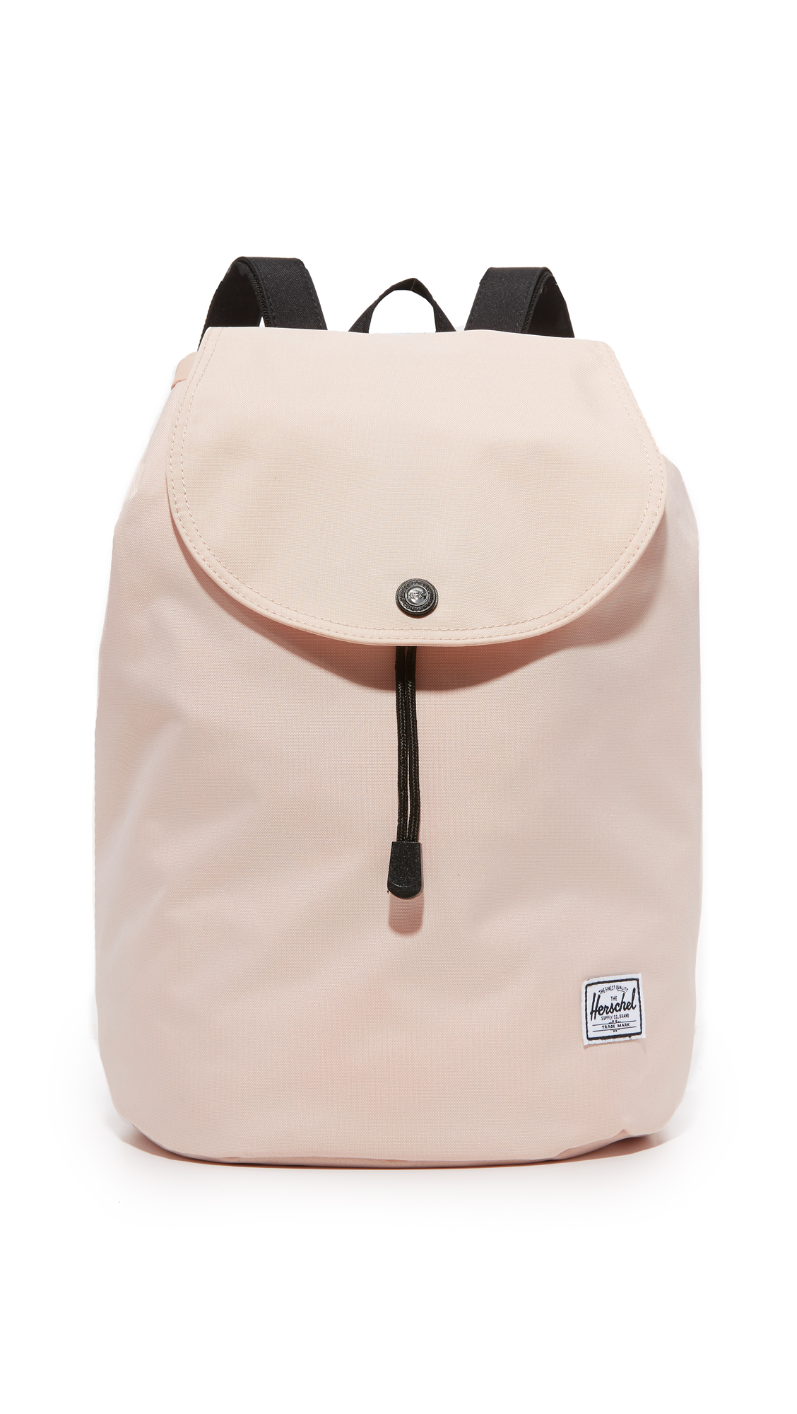 A minimalist Herschel Supply Co. backpack with a slouchy silhouette. Zip back pocket. Magnetic top flap and drawstring top line. Lined, 1 pocket interior. Locker loop and adjustable shoulder straps. Fabric: Ballistic weave. Weight: 14oz / 0.4kg. Imported,