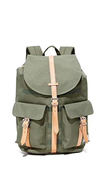 Herschel Supply Co. Dawson Backpack - Deep Lichen Green Stripe/Tan