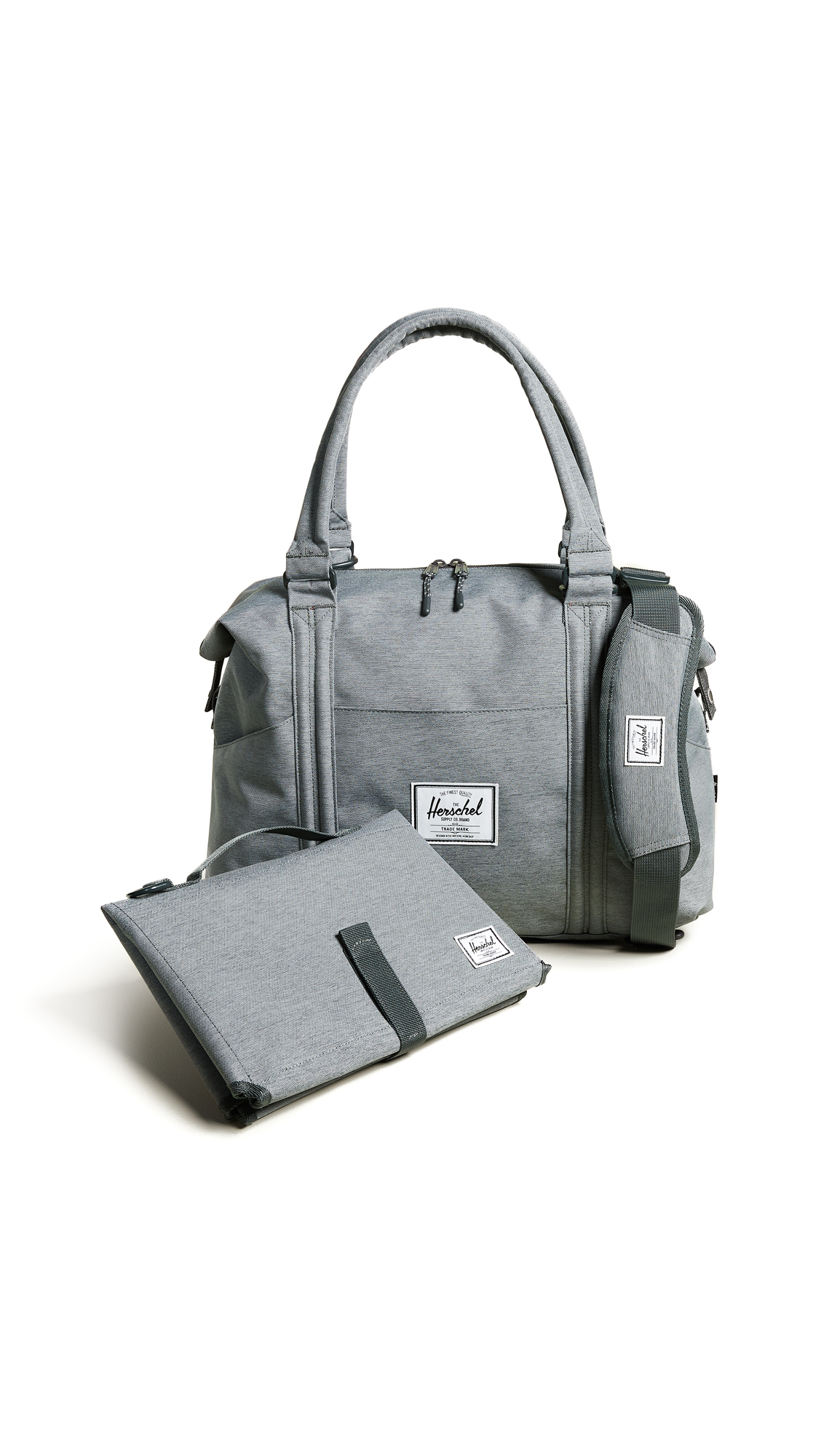 Strand Sprout Diaper Bag, Mid Grey Crosshatch