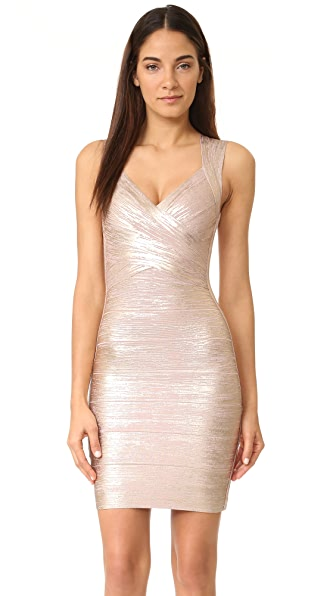Herve Leger Metallic V-Neck Dress