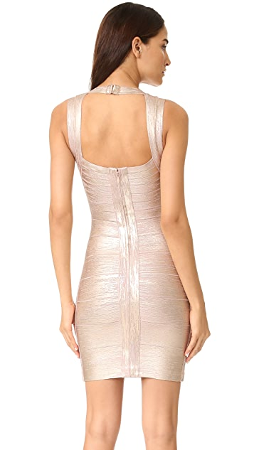 Herve Leger Metallic V-Neck Dress