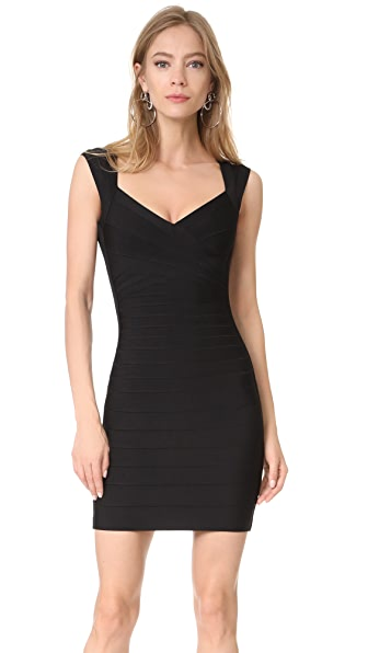 Herve Leger Signature Essentials V Neck Dress at Shopbop