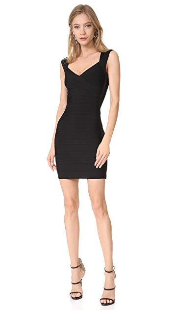 Herve Leger Signature Essentials V Neck Dress