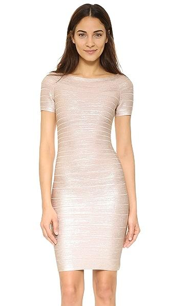 Herve Leger Carmen Foil Dress - Rose Gold