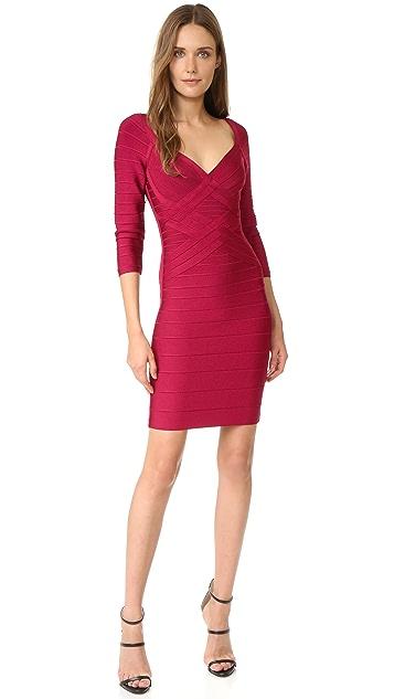 Herve Leger Alicia 3/4 Sleeve Dress