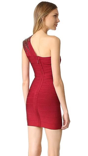 Herve Leger Brianne One Shoulder Dress