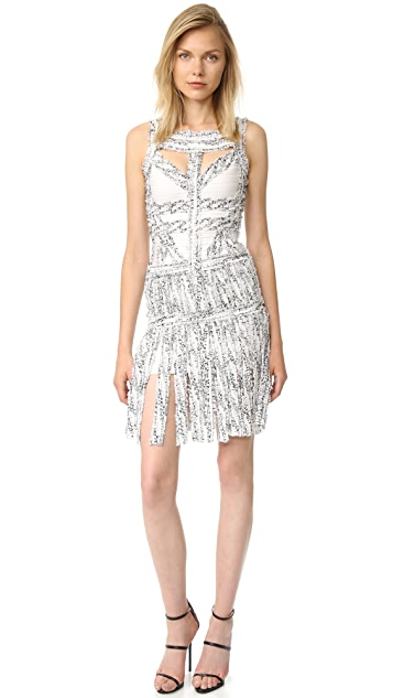 Herve Leger Joseline Fringe Dress