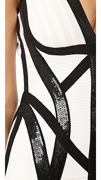 Herve Leger Zahara Dress with Black Sequins