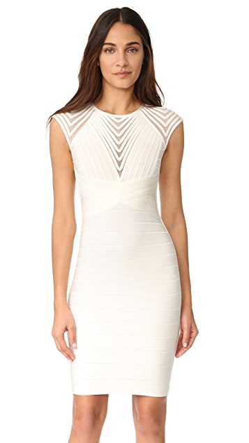 Herve Leger Deanna Cap Sleeve Dress