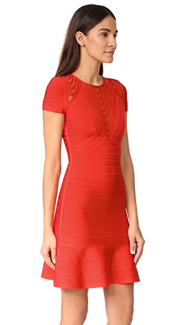 Herve Leger Short Sleeve Dress