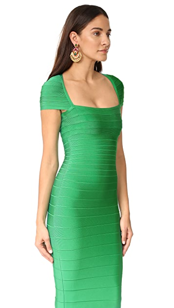 Herve Leger Margot Cap Sleeve Dress