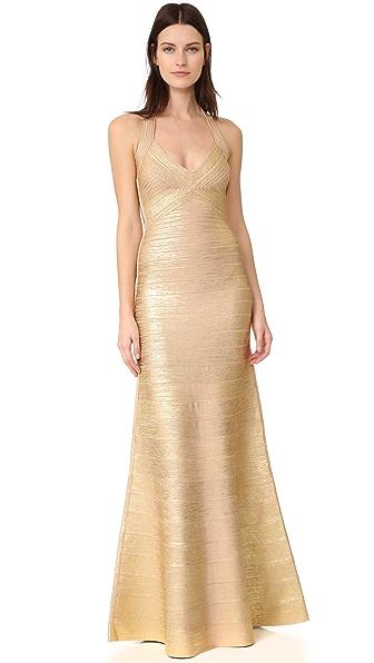 Herve Leger Длинное платье с американской проймой