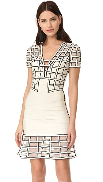 Herve Leger Tamera Short Sleeve Dress