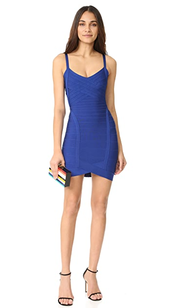 Herve Leger Kourtney Sleeveless Cocktail Dress