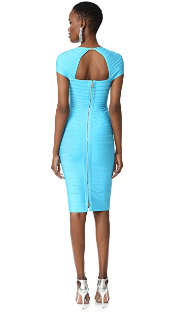 Herve Leger Margot Cap Sleeve Dress