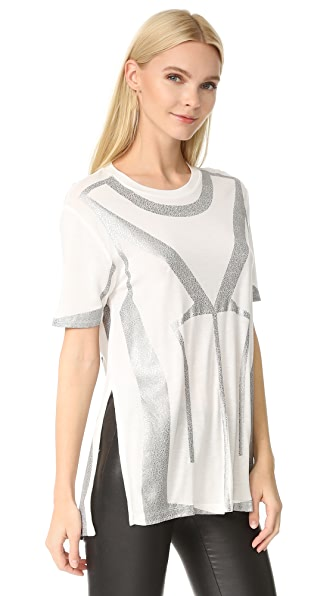 Herve Leger Short Sleeve T-Shirt - Alabaster Combo