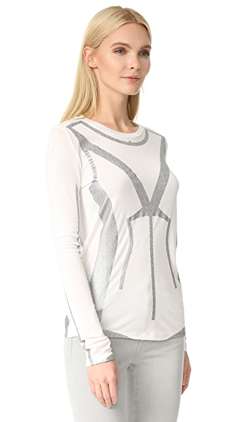 Herve Leger Long Sleeve T-Shirt - Alabaster Combo