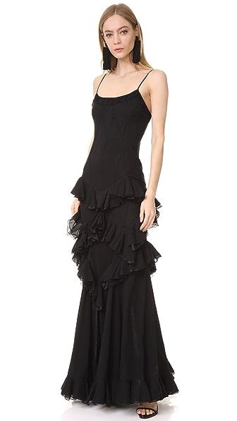 Herve Leger Sleeveless Ruffled Dress