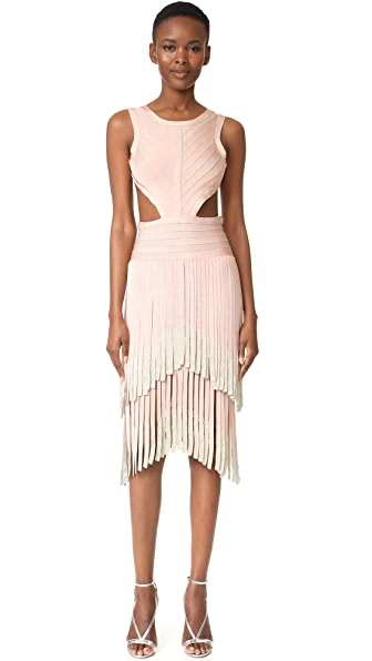 Herve Leger Fringe Sleeveless Dress